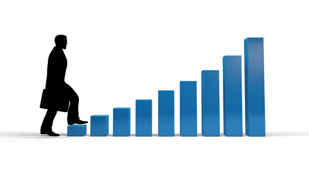 Man Climbing Staircase/ Bar Graph